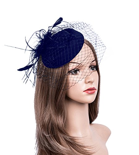 Fascinators Hats 20s 50s Hat Pillbox Hat Cocktail Tea Party Headwear with Veil for Girls and Women (B-Navy) by Cizoe
