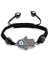 ILOVEDIY Bracelet Handmade Braid Rope Evil Eye Hamsa with Crystal Beads Charm Silver Plated for Women