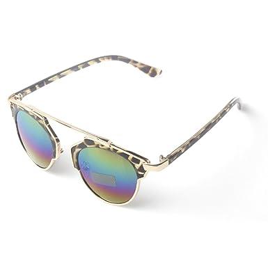 fe8aa43a9b97e Brown Leopard Print Sunglasses With Gold High Brow Detail   Rainbow Revo  Lenses
