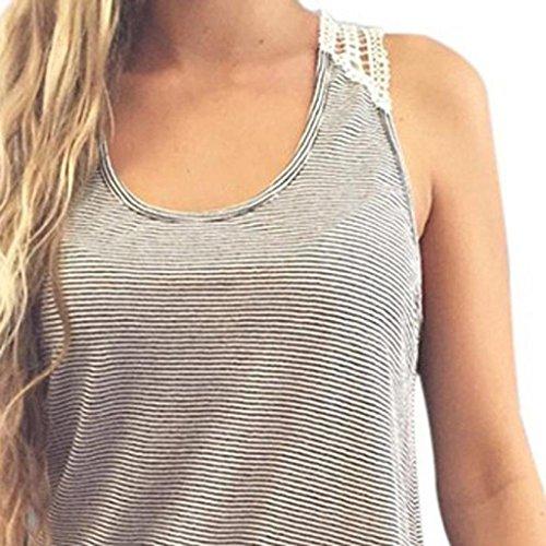 HGWXX7 Women Summer Sexy Casual Loose Lace Stripe Cotton Blouse Vest Tank Tops - Silk Blend Sleeveless Top