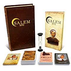 The year is 1692 and the witch hunt in Salem, Massachusetts is heating up. Players, each representing a historical person from the town of Salem, will play accusation cards to reveal other players' Tryal cards. If all Witch Tryal cards are fo...