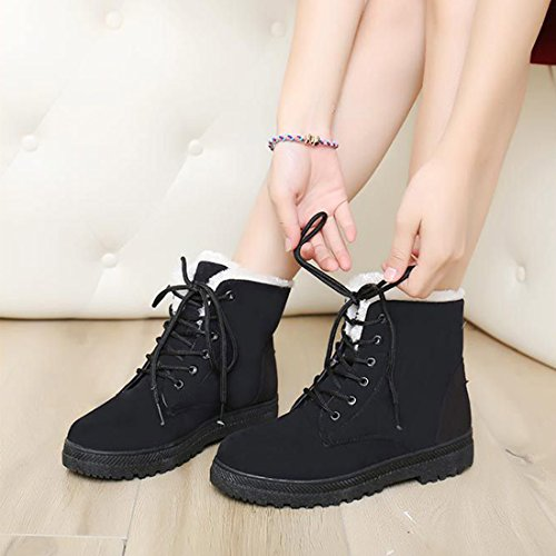 Flat O Shoes Suede Fur Girls Black Snow Up amp;N Women Faux Winter Boot Lace Cotton vnqvUHCrzx
