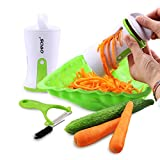 OVOS Vegetable Spiral Slicer Pasta Maker Noodle Spiralizer Stainless Steel Blades With Ceramic Peeler Brush Included