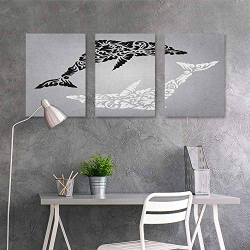 Dolphin Design Door Knocker - HOMEDD Anti-Fading Oil Painting,Dolphin Monochrome Subaquatic Design with Floral Details on Greyscale Background,Contemporary Abstract Art 3 Panels,24x35inchx3pcs Pale Grey Black White
