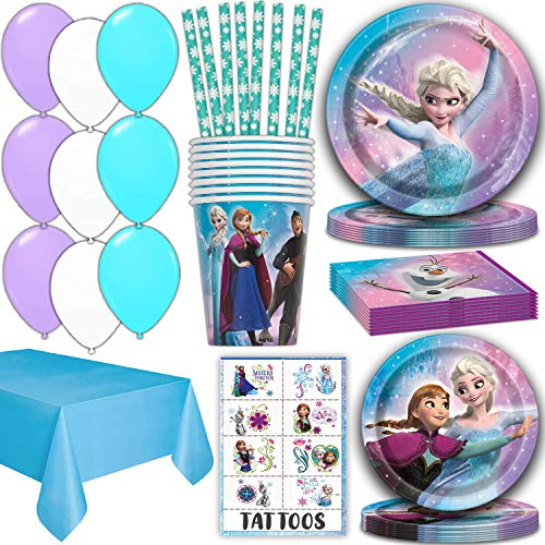 Frozen Party Supplies for 16 - Dinner Plates, Cake Plates, Napkins, Cups, Straws, Tablecover, Balloons, Tattoos - Disney Frozen Theme Birthday Pack Disposable tableware, decorations, Favors]()