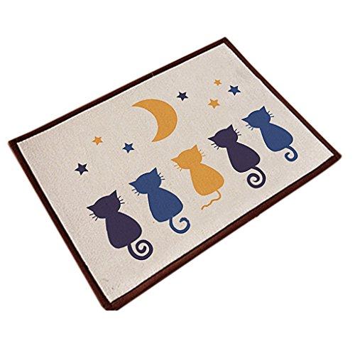 Chezmax Cotton&Linen Zakka Non-slip Indoor Outdoor Hello Doormat Large Small Inside Outside Front Door Mat Carpet Floor Rug Five Cats 16'X24'