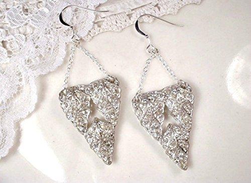 1920s Sterling Silver Clear Rhinestone Drop Earrings, Vintage Leaf Fur / Dress Clip Gasby Bridal Statement Dangle (Gatsby 1920s Dress)