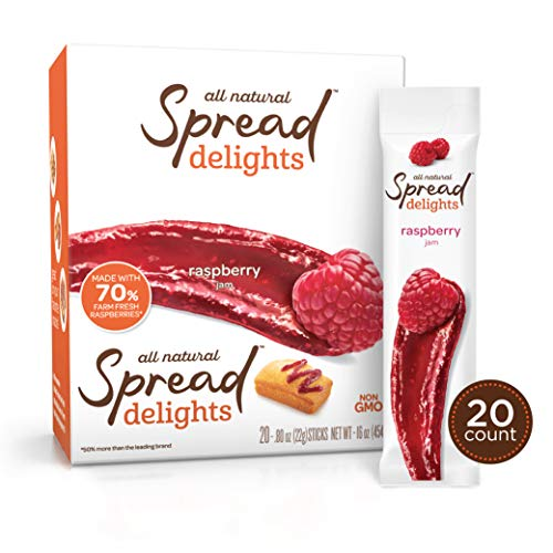 Spread Delights Single-Serve Raspberry Jam - Great on your Favorite Snacks & Pastries (20 Count Carton)