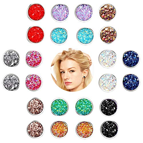 FENBORY 12 Pairs Stainless Steel Druzy Stud Earrings Set Colors Crystal Round Earrings for Women Silver