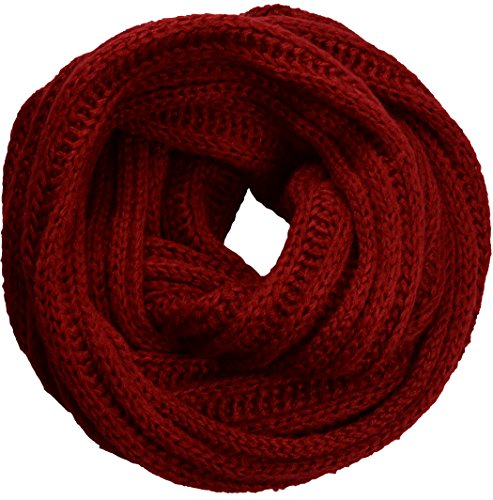 NEOSAN Women's Men Thick Winter Knitted Infinity Circle Loop Scarf ST Burgundy - Cable Scarf Easy
