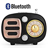 Retro Bluetooth Speaker Radio, Portable AM FM Shortwave Radio with Rechargeable Battery Support USB MP3 Player and TF Card (Black)
