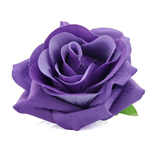 QtGirl Fabric Rose Hair Clips Flower Brooch for Women Teens at Party Ball Wedding (Purple)