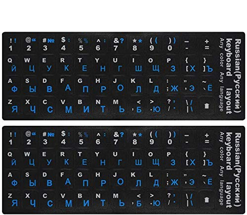 2-Pack Russian-English Keyboard Stickers, Keyboard Replacement Sticker Black Background with Blue Lettering for Computer Keyboard (Russian Blue)