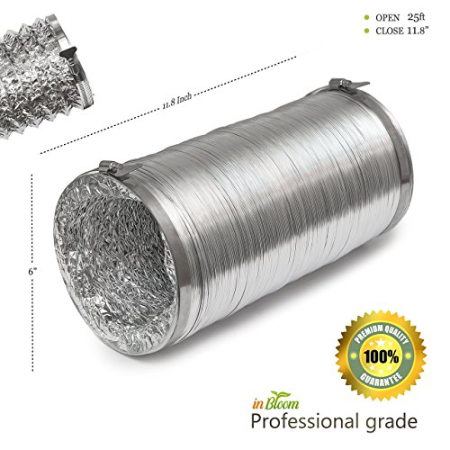 Aluminum flexible duct with 2 free Easy clamps Three-layered professional grade 6 inch diameter, 25 feet (Mylar Hose)