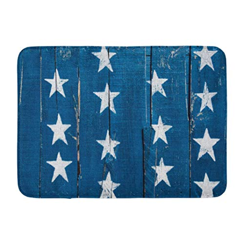 Americana,Darkchocl Decorative Bath Mat White Stars Blue Rustic Reclaimed Wood Absorbent Non-Slip 100% Flannel 17''L x 24''W for Bathroom Toilet Bath Tub Living Room