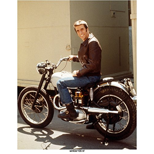 Happy Days Henry Winkler As the Fonz, Candid on Motorcycle 8 X 10 Inch Photo