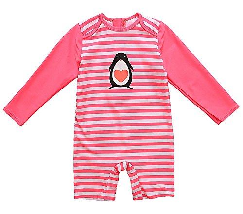 ATTRACO Baby Girls UV Sun Protective Rash Guard Zipper Striped One Piece Swimsuit