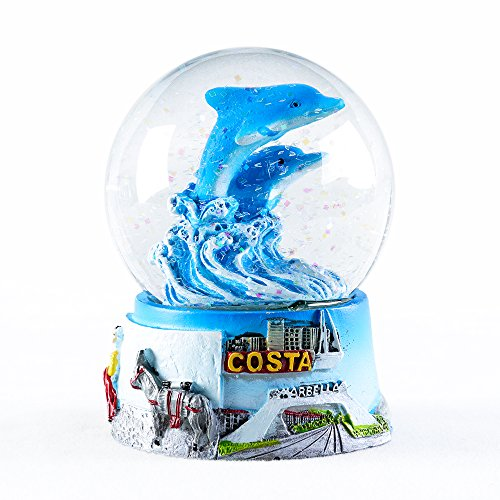 APELPES Snow Globe Crafts- Sculptured Resin Water Ball - Christmas Valentine's Day Birthday Holiday New Year's Gift (Diameter 65mm, Delphis)