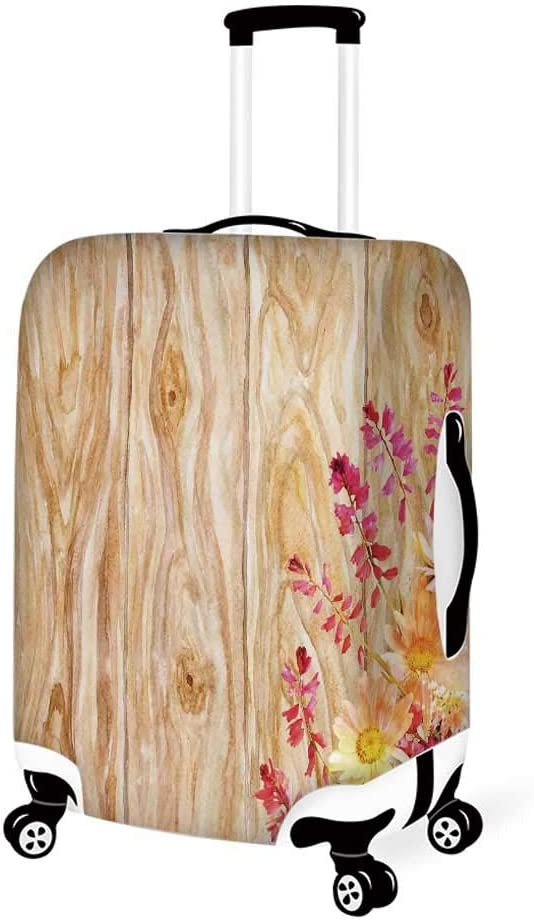 Rustic Home Decor Stylish Luggage Cover,Vertical Striped Vibrating Decorative Timber Design with Various Star Figures for Luggage,L 26.3W x 30.7H