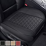 Black Panther Luxury PU Leather Car Seat Cover Cushion Front Seat Bottom Protector,Compatible with 90% Vehicles (Sedan SUV Pickup Van), Triangle Quilted Design - 1 Piece,Black (21.26×20.86 Inches)