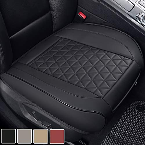 Black Panther Luxury PU Leather Car Seat Cover Cushion Front Seat Bottom Protector,Compatible with 90% Vehicles (Sedan SUV Truck Van MPV), Triangle Quilting Design - 1 Piece,Black (21.26×20.86 Inches)
