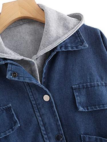en Blouson Denim Jeans HUX SOLY Fonc en Ensemble Pull Poche Femme Manteau Bleu Outerwear Longues avec Vest Manches avec Chic Capuche Top xnqI8SIv