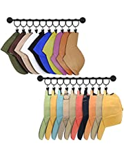 Hat Rack for Wall Baseball Cap Display Organizer with 20 Hooks Modern Metal Hat Holder Wall-Mounted Caps Hanger for Closet Door Bedroom Entryway Laundry, Set of 2