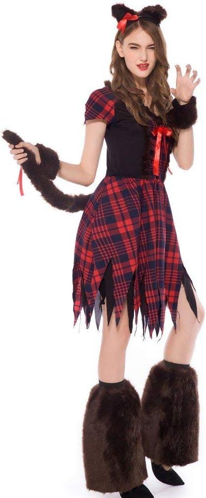 Disfraz de Bruja para Halloween, Vestido a Cuadros Rojos para ...
