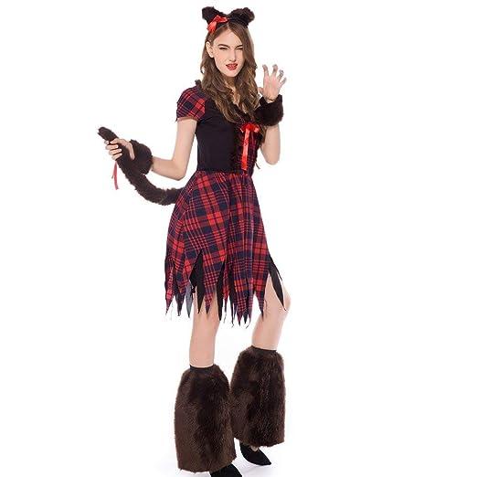 Disfraz de Bruja para Halloween, Vestido a Cuadros Rojos ...