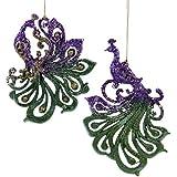 Purple Green Glitter Peacocks Christmas Holiday Ornaments Set of 2 Kurt Adler