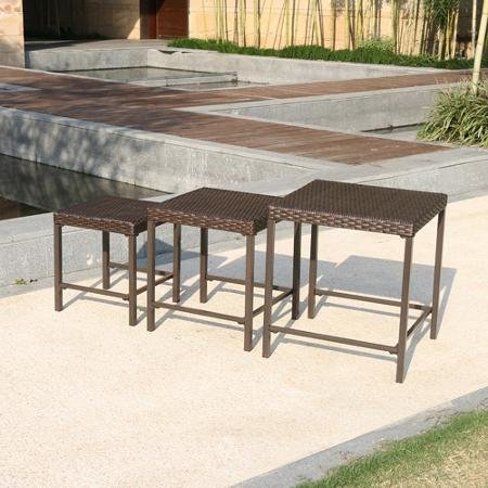3 piece nesting outdoor side table set wicker home for Outdoor patio nesting tables