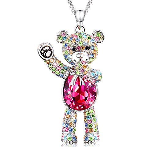 Conmisun Necklaces for Women Girls Crystals from Swarovski Pendant Cute Teddy Bear Guards Your Love, Jewelry Gifts Anniversary Birthday Friendship Blue Ruby