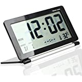 Eway Multifunction Silent LCD Digital Large Screen Travel Desk Electronic Alarm Clock, Date/Time/Calendar/Temperature Display, Snooze, Folding(Black&Silver)