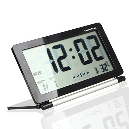 Tzou Multifunction Silent LCD Digital Large Screen Travel Desk Electronic Alarm Clock, Date/Time/Calendar/Temperature Display, Snooze, Folding (Black+Silver) Black Folding Clock