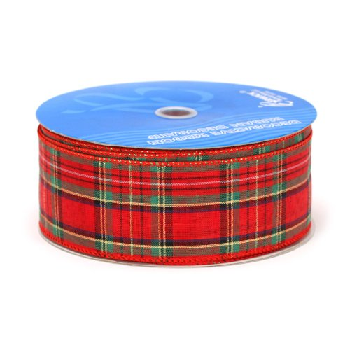Berwick 2-1/2-Inch Wide by 50-Yard Spool Wired Edge Clarkston Craft Ribbon, Red/Green/Gold - Plaid Wired Ribbon