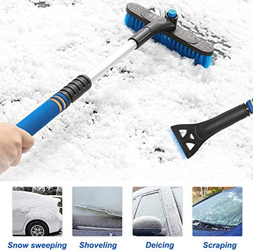 """None/Brand 32"""" Extendable Snow Brush with Detachable Ice Scraper and Ergonomic Foam Grip 360° Pivoting Head Snow Mover for Car Auto SUV Truck Windshield Windows Model Snow Removal (Heavy Duty ABS)"""