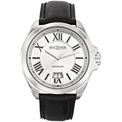 Saint Honore Men's 897045 1AR Coloseo Automatic Black Leather Roman Numeral Watch