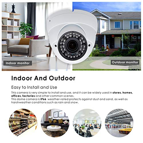 5MP 4MP Dome Super Hybrid Security Camera 1080P HD-TVI CVI AHD 960H CCTV Surveillance Security Camera 2.8-12mm Varifocal Lens Outdoor Indoor 98ft IR Waterproof Day Night Vision Inwerang Array Dome Cam