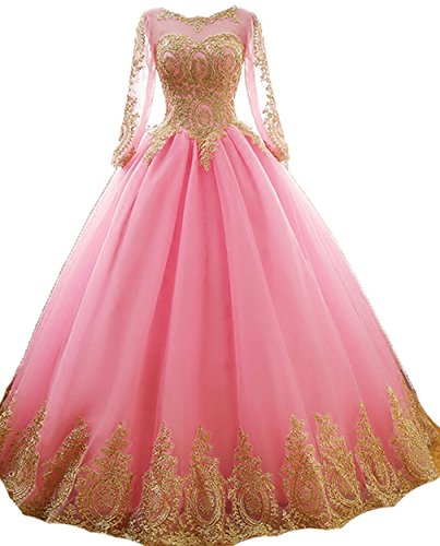 Sweetheart Style7 Quinceanera Diandiai Ball Crystal Appliques Dresses Dress amp;gold Gold pink Prom Gown dvTTqS