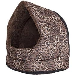 PETMAKER Furry Canopy Cave Pet Bed, Leopard