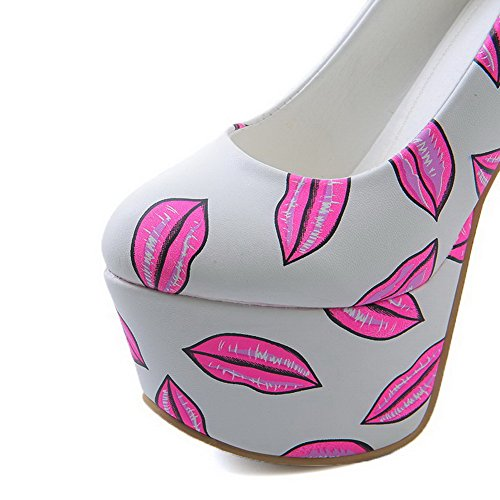 AmoonyFashion Womens Pull-On Round Closed Toe High-Heels Soft Material Assorted Color Pumps-Shoes Pink DwhMjqy