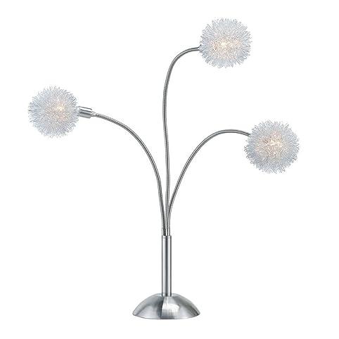 adesso pom pom table lamp satin steel