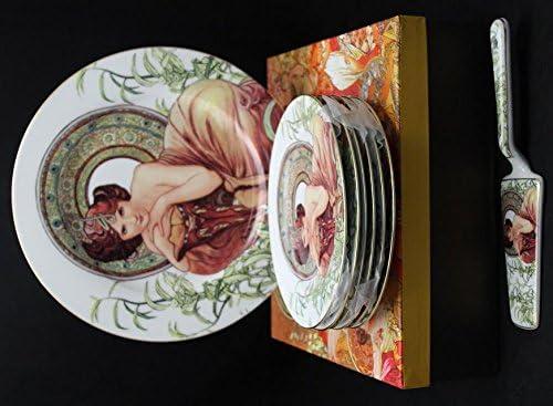 Atelier Harmony Alfons Mucha - Juego de Platos para Tartas (8 Unidades, Porcelana), diseño de Piedras Preciosas