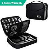 "Electronic Organizer, Double Layer Travel Bag Accessories Organizer for Cords USB Cables SD Cards MP3 Player Hard Drive Power Bank, E-Book Kindle iPad or Tablet(up to 9.7"")- Black"