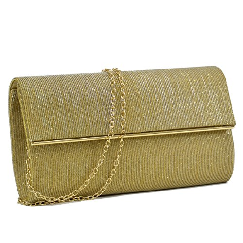 Women Evening Bag Glitter Clutch Purse Wedding Party Prom Handbag w/ Gold Crossbody Chain Strap Large Gold (Metallic Handbag Purse)