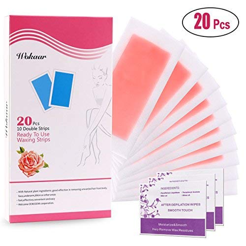 Wokaar Wax Strips Hair Removal Painless Waxing Kit for Women 20 PCS(10 Double Side) Rose Fragrance Waxing for Legs, Arms, Underarms and Bikini,7.2X3.5 inch Each (Remover Strip Ready)