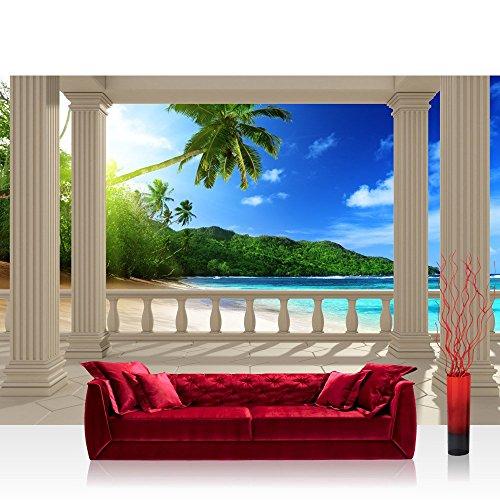 Fototapete Strand - ALLE STRANDMOTIVE auf einen Blick ! Vlies PREMIUM PLUS - 350x245 cm - TERRACE VIEW CARIBBEAN BEACH - Ausblick Terrasse Seeblick 3D Strand Beach Meer Sonne Palmen - no. 121