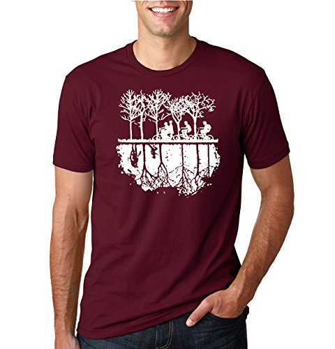 Upside Down Bike Silhouette | White | Mens Pop Culture Tee Graphic T-Shirt, Maroon, Small