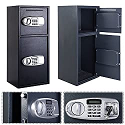 (Set of 2) 2 Doors Digital Deposit Cash Drop Safe Box Security Lock Indoor Home Hotel Office Use