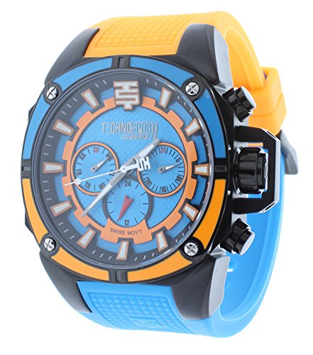 Technosport TS-100-10M Mens Swiss GMT Multifunction Watch Blue/Orange Silicone Strap